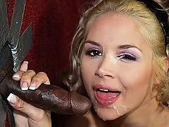 Blond sucks & fucks black dick at a gloryhole. Sarah Vandella