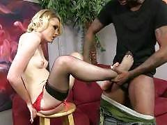 Miley Mae makes her return to our network via her feet getting fucked by a big black cock