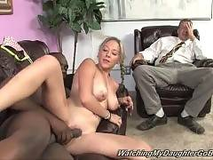 Daddy can`t stand watching his busty young daughter pleasures black guy.