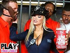 Stacked blonde cop Shyla gets fucked hard in a jail cell