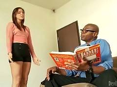 Cutie asks her black step father to fix her vacuum.