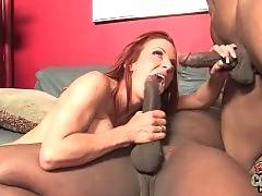 Black cock hungry white mom has fun with two black guys.