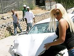Poor little Whitney, yakking on her phone instead of paying attention, and now her car is wrecked! This scene starts with Whitney Fears trying in vain to get her car hood to go back down, despite the fact that it's pushed up to her windshield. Along come