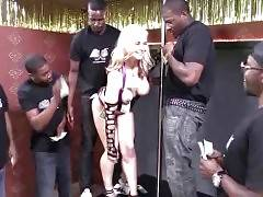 Curvaceous blonde Sarah Vandella starts posing for horny black dudes.