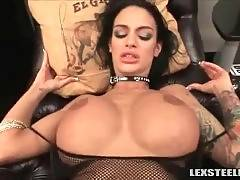 Skilful big boobed brunette gets thick black dick in her hole.