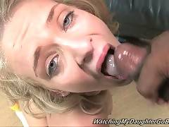 Nasty girl gets deeply throated before eating cum.