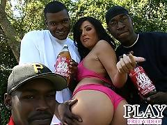 Big ass latina fucks a couple black guys outside
