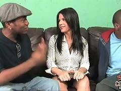 Ebony bastard is thinking about real sex on the sofa