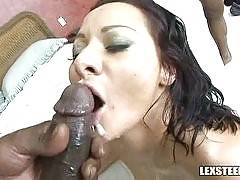 Sandra Romain vs 3 - Interracial Gang Bang