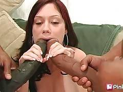 Girl blows two giant black dongs and longs to feel them inside her pussy.