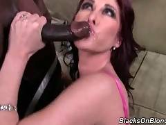 Bewitching bitch is sucking his big dick