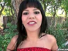 Latina readily demonstrates her pussy for camera man.
