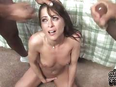 Cecilia Vega gets her face and body creamed by black men and tells her cuckold to lick it all off her skin.