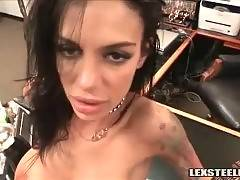 Thick black cock penetrates white pierced pussy.