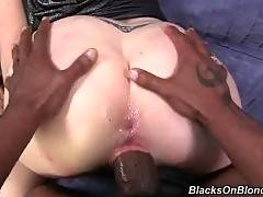 Big boobed blonde whore gets attacked by two black guys.