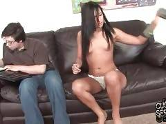 Ashli strips for her friend trying to seduce him but he doesn`t pay any attention to her naked body.
