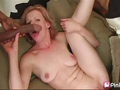 Cutie loves to have her pussy stretched with giant black dong.