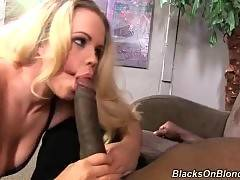 This brave blonde likes to suck black penis