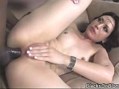Sluty babe likes black cocks. It's hard for her to take such a big black thing in her ass but she does her best.
