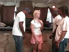 Nasty Tara Lynn Foxx demonstrates black guys her bushy pussy.