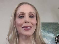Pretty blond milf Julia Ann is satisfied with her obedient cuckold and is going to let him watch her fucking black guys.