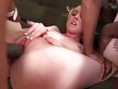 White cutie is fond of getting drilled by two tough black guys.