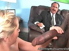 Sluty white sweetie sucks off massive black bone.