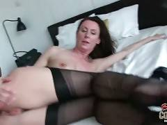 Pretty lady in black stockings is fond of fucking with tough black guy.